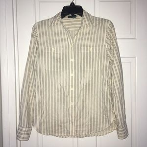 Ralph Lauren Jeans cream black stripe button down